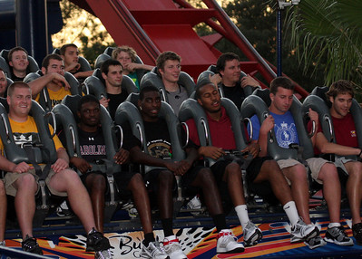 Nate Spurrier, Moe Brown, Jason Barnes, Tori Childers, Adam Yates find the4ir stomachs after  riding SheiKra the roller coaster