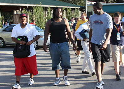 Sinclair, Andrews and Geathers follow the park escort to the SheiKera roller coaster