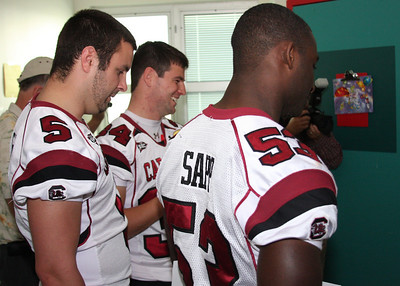 I was lucky to get to go through the hospital with Stephen Garcia, Marvin Sapp and Spencer Lanning. I was very impressed with each of their abilities to interact with the sick kids and cheer them up. I was proud as a sttrutting Gamecock!