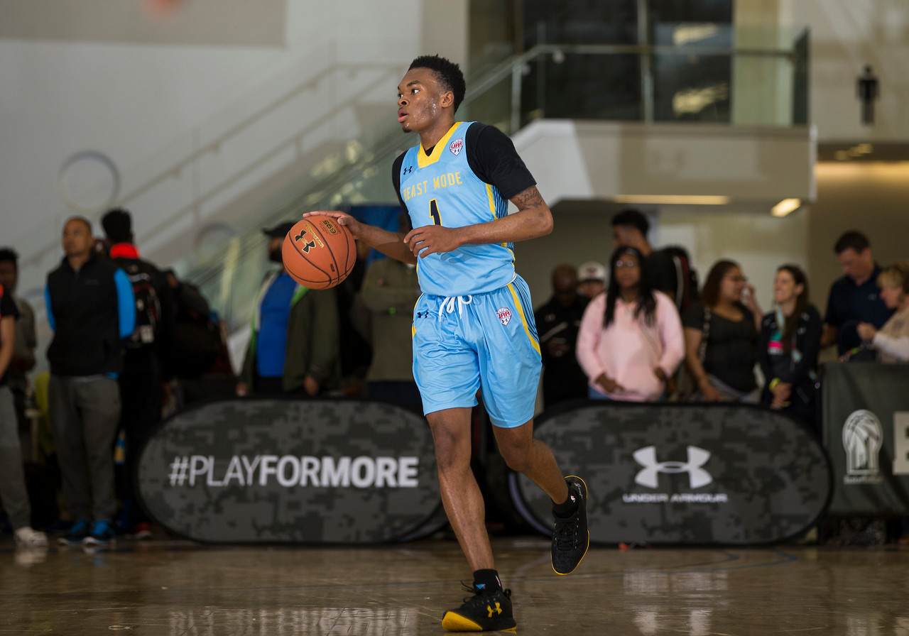 NEW YORK, NY - April 17, 2016: UAA tournament at Basketball City in New York City. (Photo by Kelly Kline/Under Armour)