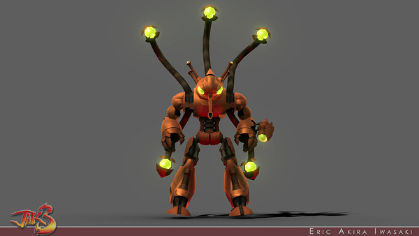 Jak 3 - Precursor Robot  When I modeled, rigged, AO baked + hand vertex colored, and animated this boss, little did I know this would be my last major contribution for the Jak franchise...and my last cross-discipline contribution at Naughty Dog.  As with my previous bosses, I handled all of its motion in both  gameplay and in-game cutscenes.  I contributed textures for various effects ranging from the robot's environment maps to its weapons (laser swords, beams and resulting molten pillars), but Charlotte handled the main surface details.  Shortly after completing this boss, I joined Naughty Dog's PS3 R&D team...but I did continue to make contributions to the Jak titles (including final adjustments to Jak 3's lighting and a shield effect for Jak X).