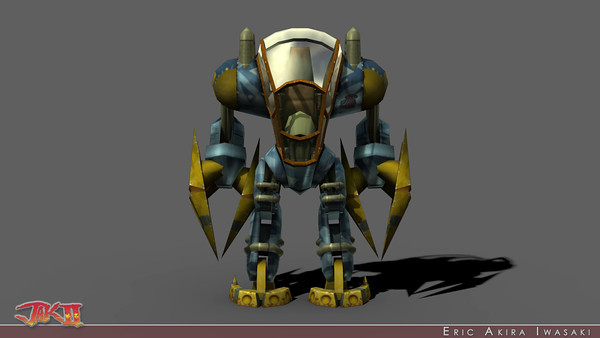 Jak II - Titan Suit  Somehow I got pegged as the go to Dog for mechs, perhaps due to my roll designing N.Gin's robots for the Crash Bandicoot sequels.  So, when it came time to give Jak a mobile suit, it fell on to my plate.  I modeled, rigged, shaded, textured, and even animated all of the Titan's Suit's player controlled movements...with constraint points that drove Jak's IK (though Martinsen would eventually layer in additional animations for Jak and Daxter).  As with the Zoomer and Klaww, I baked a dome of lights into the vertex colors with only minor tinting.  Note how closely this pass approximates the MentalRay light map rendered ambient occlusion pass in the turntable above...MentalRay was not yet a part of Naughty Dog's production pipeline.  In fact, we stuck with Maya 4.5 until we finished Jak 3.