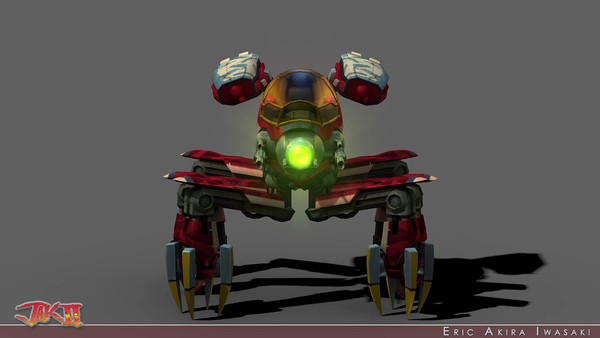 Jak II - Baron's Widow Mech  I worked on many bosses at Naughty Dog, but the Baron's Widow Mech is one of my favorites. I modeled, textured, AO baked + hand vertex colored, rigged, and animated the mech and stone for its IGC and all of the gameplay that followed.  Though its cockpit pod resembles that of the Baron's Squid Mech (to suggest interchangeability), it actually shares no geometry and only a few textures.  Since this boss fight took place in an interior environment and the mech had no multi-pass shielding effect, I could afford to environment map nearly its entire surface.  This helped it appear a bit more rendered than my other bosses.  I was also able to use higher resolution textures with alpha masks that modulated the faked specularity to better flesh out panel lines and vents...and I transferred the baked vertex level ambient occlusion into the vertex alpha to further modulate the sheen.  When I rigged this mech, I decided to give it a lot of control over squash and stretch to help it appear more lively.  With a single attribute on each leg, its pistons could be expanded or compressed beyond physical boundaries.  Upon compression, the lower leg would automatically scale non-uniformly to preserve volume and emphasize the mech's weight (or power of a stomp).  I placed joints in  the guns and missile pods so I could add secondary motion.