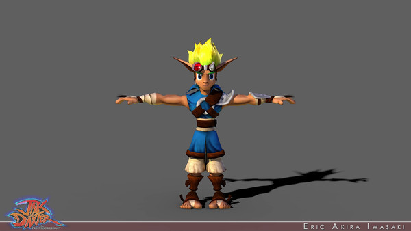 Jak and Daxter: The Precursor Legacy - Jak  Still mindful of low poly techniques from our first-generation PlayStation efforts, I built Jak as efficiently as possible and used minimal texturing (relying upon hand-painted vertex colors to define diffuse variation and make surface details pop).  I was forced me to be even more resourceful when weighting the skin thanks to highly restrictive joint influence limitations imposed by an early incarnation of the engine (the split in the back of the jacket comes from that limitation...it was not in Bob's drawing).  I was especially mindful of how the character would read at the size he would normally appear on screen during gameplay, convinced we would eventually swap to a higher resolution model for our in-game cutscenes.  I was notably disappointed that we ran out of time to model higher resolution versions for Precursor Legacy, not just because this model did not look so great in close ups, but also because someone else built one for Jak II.  Reuben sculpted the blend shapes for Jak's face based on the head I initially modeled.