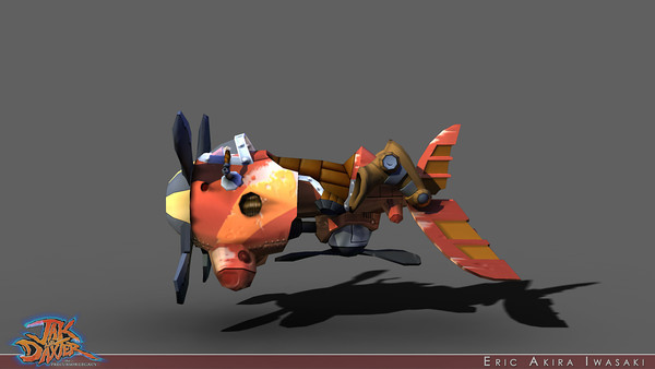 Jak and Daxter: The Precursor Legacy - A-Grav Zoomer  Having contributed to a few of the player controlled vehicles for the Crash sequels, I looked forward to doing more with the Jak and Daxter series...starting with modeling, rigging, texturing, and shading Jak's A-Grav Zoomer. In contrast to how I painted vertex colors for Jak and Daxter, here I vertex baked a dome of shadow casting lights to approximate ambient occlusion, hand touched the values where I wanted it to fade to black, and wrote a MEL script to copy these values from RGB to alpha to further modulate any environment maps. Concerned that the AO pass made the Zoomer too dark, I scaled the values above 1.0 (note how the rendered ambient occlusion in this example appears to get brighter when I multiply in the vertex colors).  I worked with Andy to make sure that things like the propellers and the winglets got driven in code as expected and set up Jak's IK constraint points so that John could easily animate Jak into his riding position.