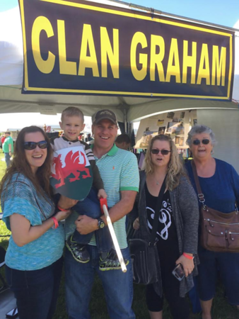 New CGS members Kacy, Benjamin, and Kevin Bagwell with Charlene Chittenden at the Loch Norman Highland Games