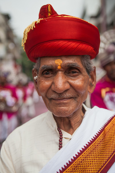 Dressed in the typical traditional attire of Pune during the Ganesh festival in Pune, India