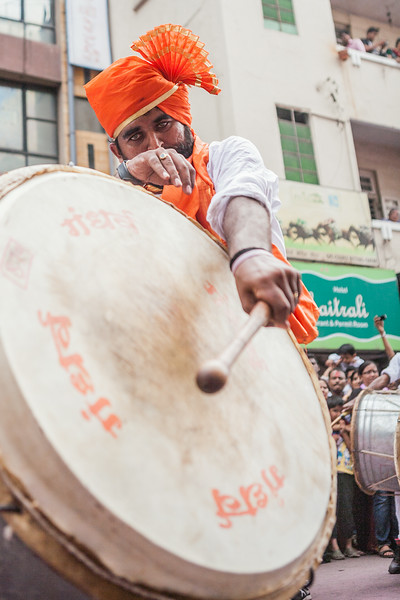 Playing the 'Dhol' at Ganesh festival in Pune, India