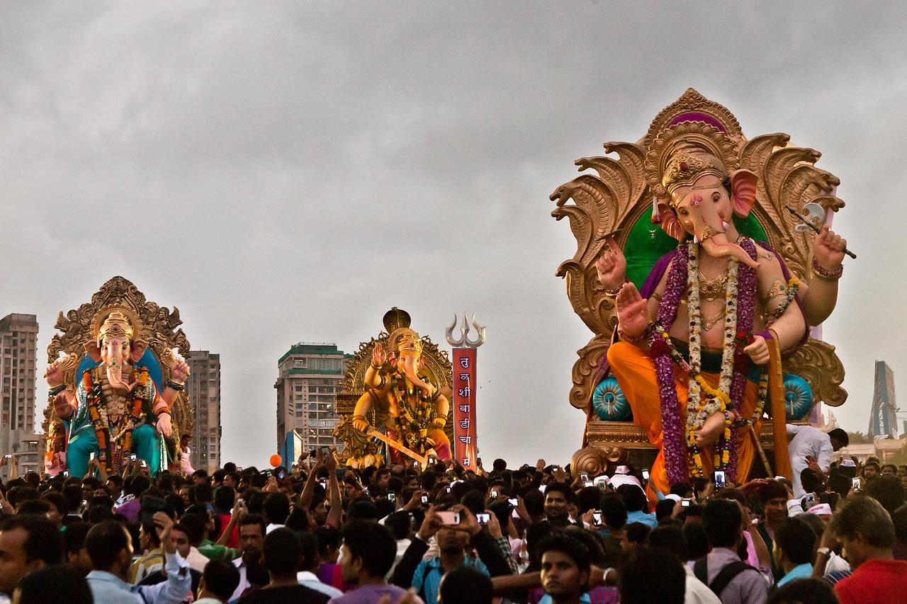 Ganesh idols start arriving for visarjan at Girgaum chowpatty in Mumbai, India