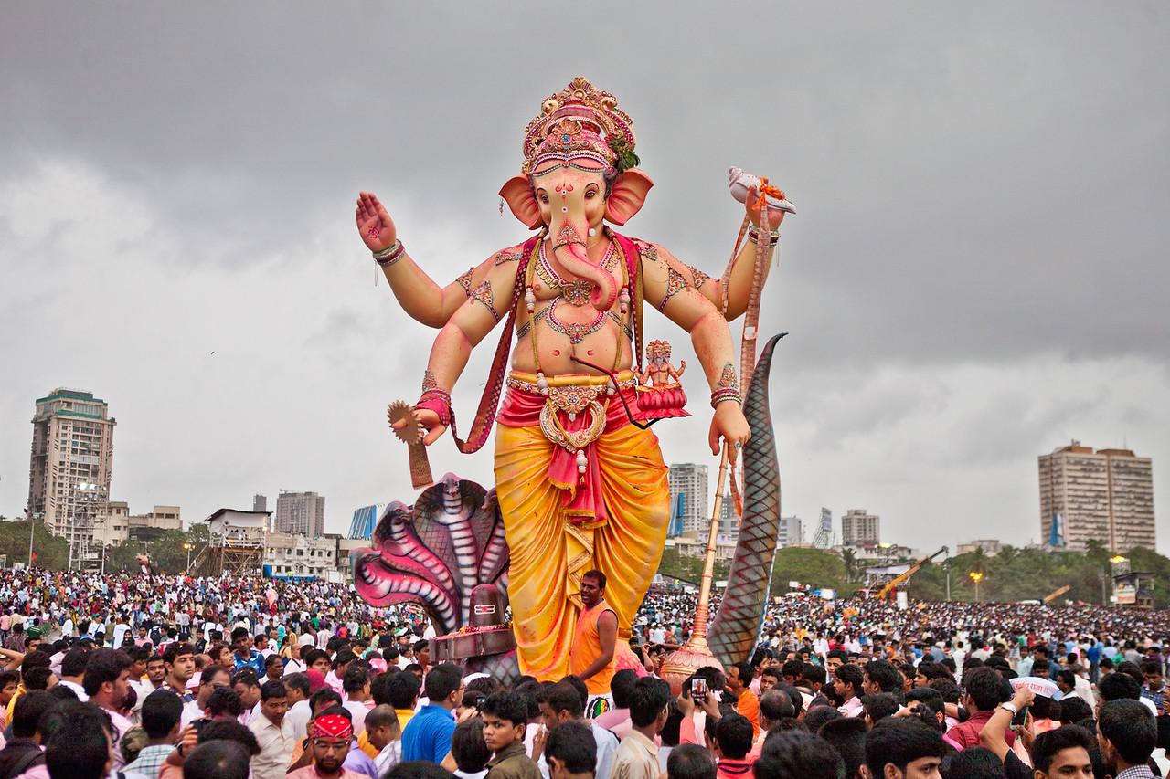 Devotees gather at the Girgaum chowpatty in Mumbai for visarjan of their favourite deity, Lord Ganesh