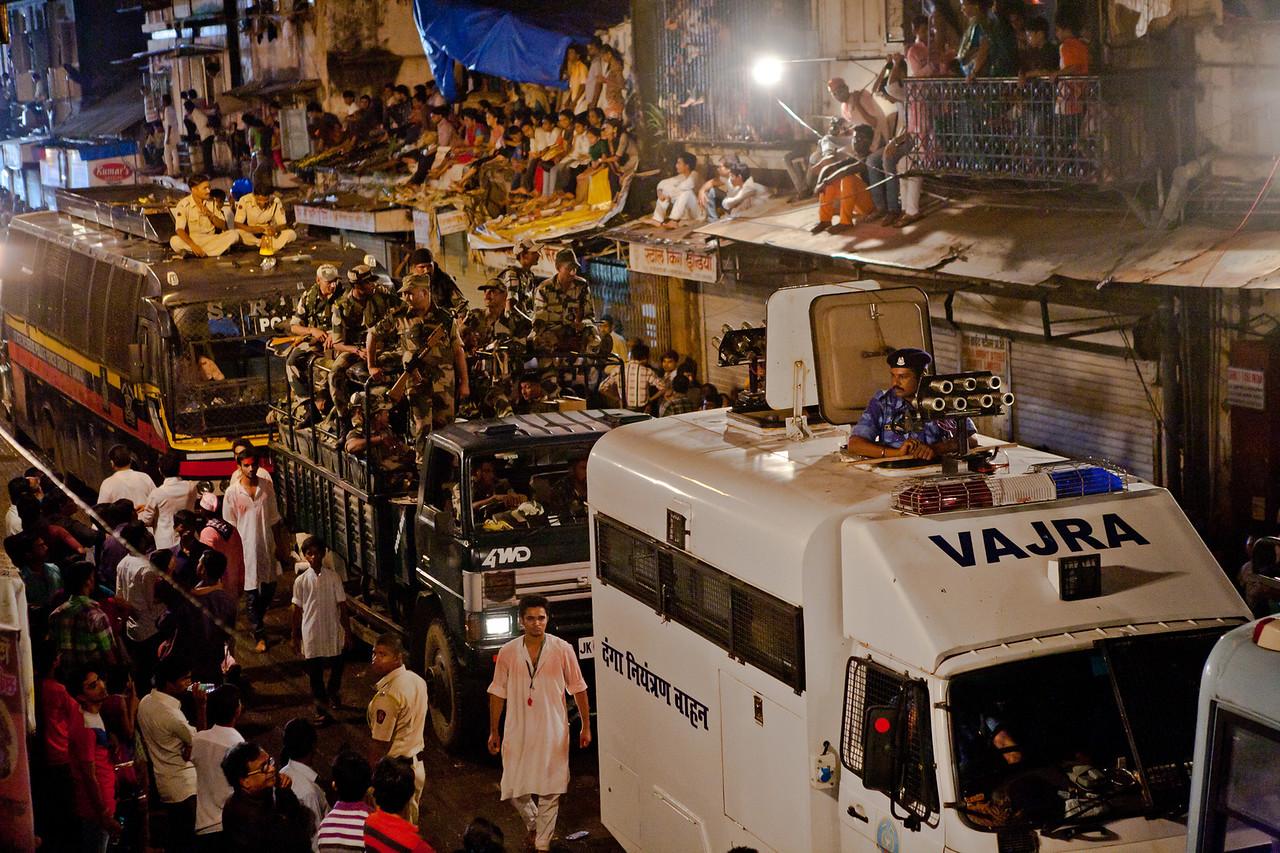 "The convoy of Mumbai's biggest celebrity, ""Lalbaug cha Raja"" for Ganesh visarjan in Mumbai, India"