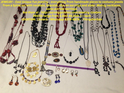 JEWELRY - Cool Unique fun jewelry - everything from handmade pieces to costume jewels from a Spiral set with necklace, bracelet, clip-on earrings and slider. Mainly necklaces, some pierced earrings.  See them at - http://saronggoddess.com/Jewelry-Lindora  PRICES range from 2,000-85,000-c each