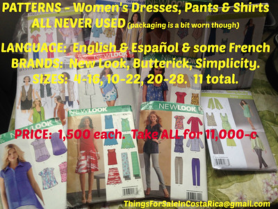 PATTERNS - Women's Dresses, Pants & Shirts - ALL NEVER USED (packaging is a bit worn though.  Brands - New Look, Butterick, Simplicity.  Sizes 4-16, 10-22, 20-28.  11 total. PRICE:  1,500 each.  Take ALL for 11,000-c