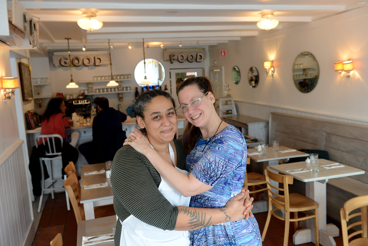 Tania Barricklo-Daily Freeman    Creative Head Chef Christine Moss, left, and owner Lea Haas of The Garden Cafe in Woodstock, N.Y.