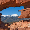 Pikes Peak seen through the Siamese Twins, Garden of the Gods, Colorado Springs, CO