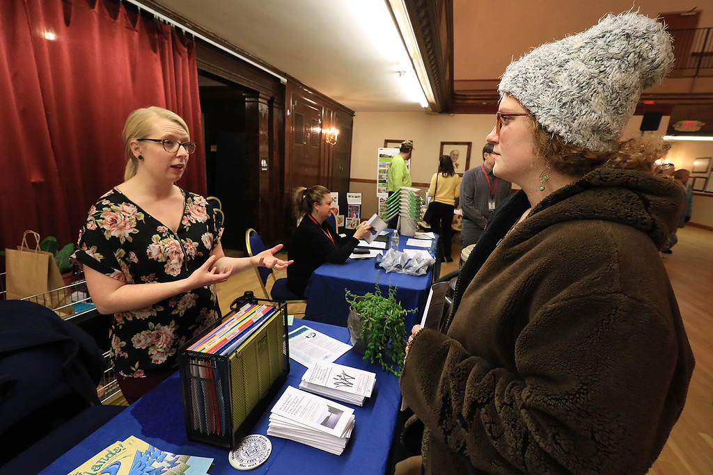 . Garden mania was held at the Leominster City Hall on Thursday night, January 31, 2019 the event was held so you could purchase items for your garden and to earn more about the resources available in the area. Shelby Harrington of Leominster chats with Angela Chebuske with Leominster City Conservation to learn more about what they do and how she can help. SENTINEL & ENTERPRISE/JOHN LOVE