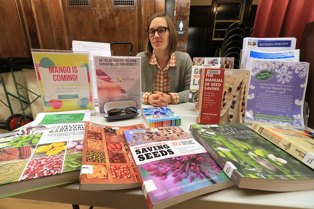 . Garden mania was held at the Leominster City Hall on Thursday night, January 31, 2019 the event was held so you could purchase items for your garden and to earn more about the resources available in the area. Sondra Murphy the Director of the Leominster Public Library man a table full of books about plants, gardens and flowers that you can get at the library during the event. SENTINEL & ENTERPRISE/JOHN LOVE