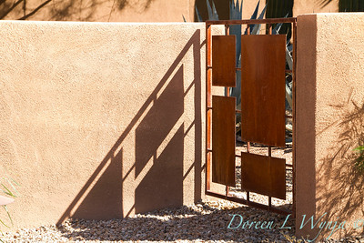 Arizona; coachwhip; columnaris; Corten steel; desert coral; Entry Gate; Fouquieria; garden gate; Gate; Jacob's staff; modern gate; Ocotillo; rusted; rusted metal; Southwestern; splendens; vine cactus