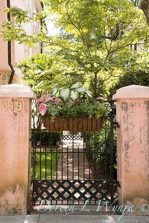 Garden gate with hanging basket_7551