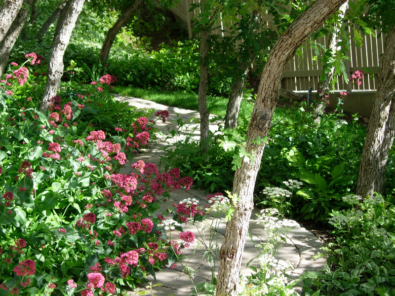 A curved path between gardens enhances the element of surprise.