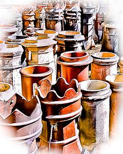 """' Chimney Pot Graveyard '  Boone, NC  12""""x16"""" on 13""""x19""""  Fine Arts Paper  Open Edition     ~ Also available as a Note Card ~"""