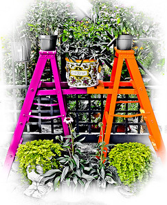 """' Garden Ladders '  Boone, NC  12""""x16"""" on 13""""x19""""  Fine Arts Paper  Open Edition    ~ Also available as a Note Card ~"""
