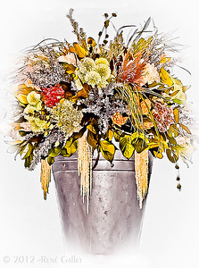 """' Floral Bucket '  Roswell, GA  12""""x16"""" on 13""""x19""""  Fine Arts Paper  Open Edition     ~ Also available as a Note Card ~"""