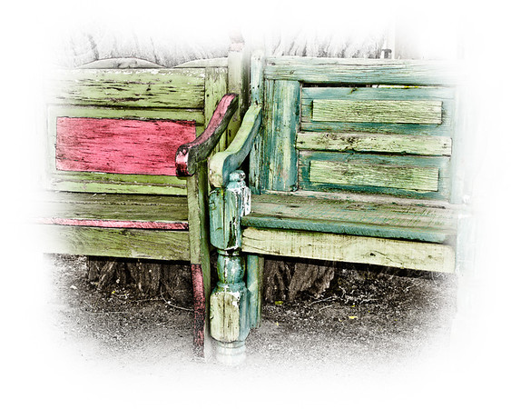 """' Mexican Garden Benches '  Santa Fe, NM  12""""x16"""" on 13""""x19""""  Fine Arts Paper  Open Edition     ~ Also available as a Note Card ~"""