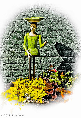 "' Green Garden Girl '  Madison, GA  12""x16"" on 13""x19""  Fine Arts Paper  Open Edition     ~ Also available as a Note Card ~"