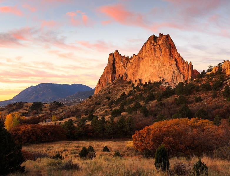 October sunrise on Grey Rock, Garden of the Gods