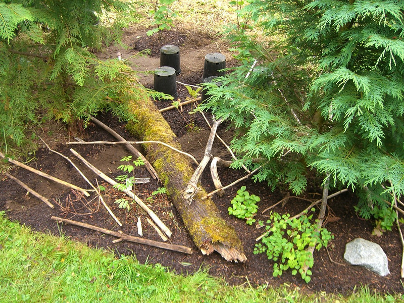 "Another view. The depression was backfilled with appropriately sized rock on top of some pond liner. Again, the sticks present are just meant to discourage ""wildlife"" from digging around."