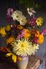 bouquet, autumn, cosmos, dahlia, marigold, zinnia