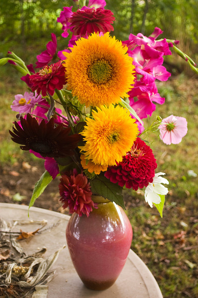 bouquet, late summer (sunflower, gladiolus, cosmos, zinnia, dahlia)