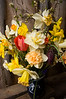 bouquet, spring (daffodils, tulips, fritillarias, blossoms)
