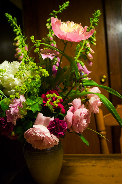 bouquet, summer, (roses, peonies, foxgloves, lady's mantle, pinks)