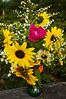 bouquet, late summer (sunflowers, roses, asters)