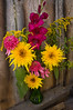 bouquet, late summer, sunflower, coneflower, gladiolus, goldenrod