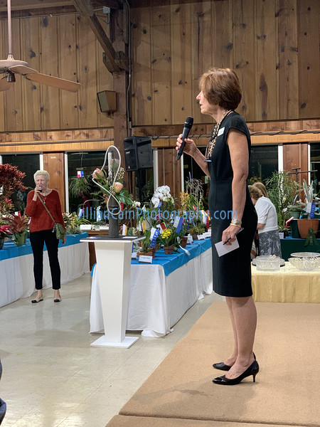 Garden Club President, Roswitha Sidelko welcomes guests at the event.