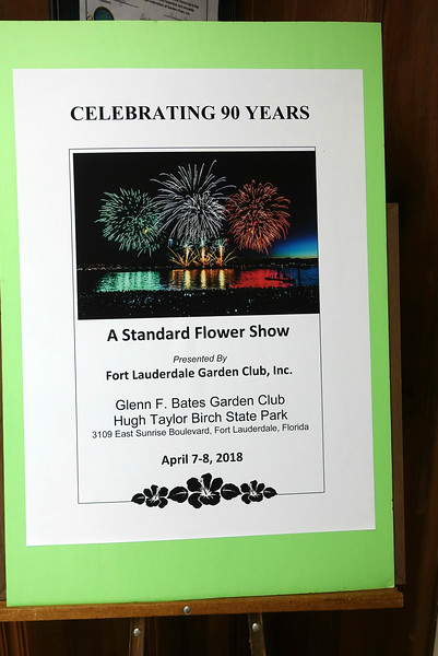 CELEBRATING 90 YEARS, a Standard Flower Show, Fort Lauderdale Garden Club, 2018.