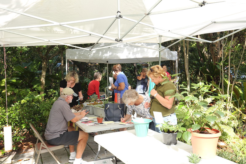 Master Gardner and FLGC member Gene Cain helps members enter their plants into the show.