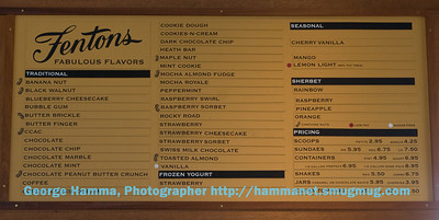 The ice cream varieties sign at the take-out counter of Fentons in the Piedmont district of Oakland, CA.