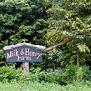Entrance to Milk & Honey Farm, the field tour site in Pahoa.