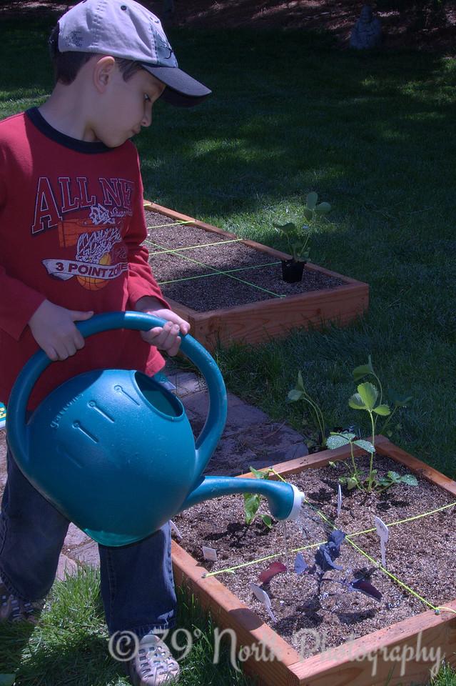 G. watering his garden.