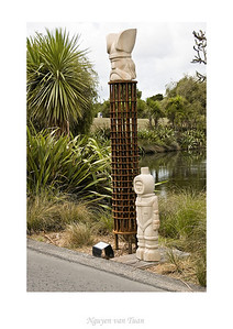 Tower of Power David Guerin Hawkesbury sandstone, steel & wood Stoneleigh sculpture in the gardens Auckland Botanic Gardens New Zealand - Jan 2008