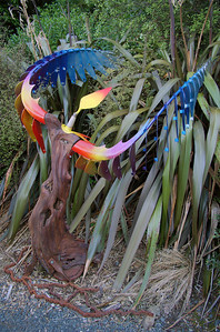 Winged Victory Doug Kennedy - Matai, steel, copper & polychrome Sculpture-in-the-Park 2006 Waitakaruru Arboretum Hamilton  New Zealand - 3 Nov 2006