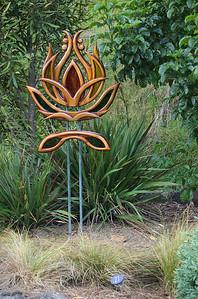 Lotus Karen Walters - Swamp kauri,  copper & stained glass Sculpture-in-the-Park 2006 Waitakaruru Arboretum Hamilton  New Zealand - 3 Nov 2006