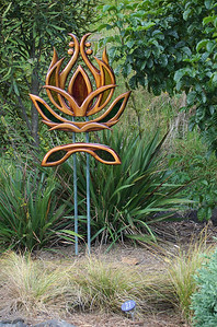 Lotus Karen Walters - Swamp kauri,  copper & stained glass Sculpture-in-the-Park 2006 Waitakaruru Arboretum Hamilton  New Zealand - 3 Nov 2006