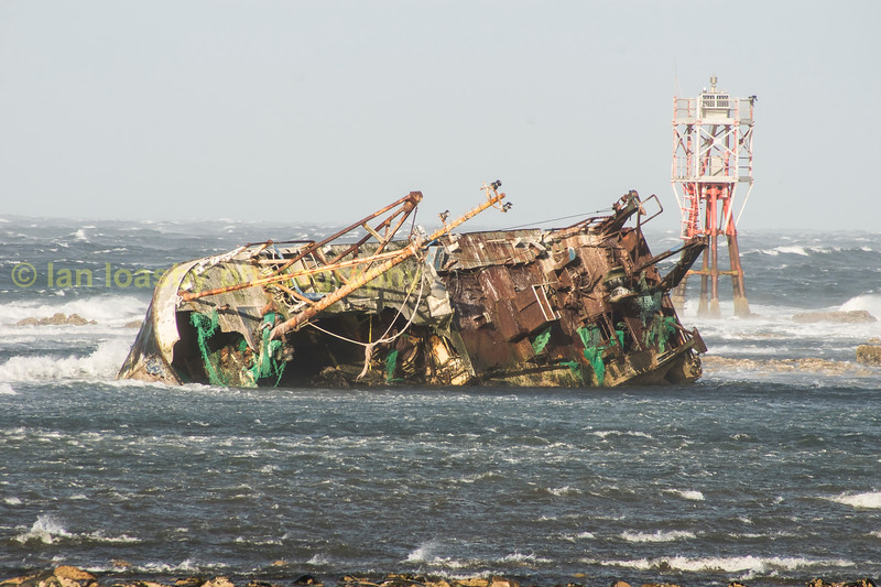 High winds batter the wreck of the Banff fishing vessel 'The Sovereign lost on Dec 18th 2005.<br /> The wreck lies only approx a couple of hundred yards of the coast at the  village of Cairnbulg just to the south and east of Fraserbough