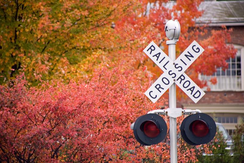 TRAIN CROSSROADS IN AUTUMN, BURLINGTON, VERMONT