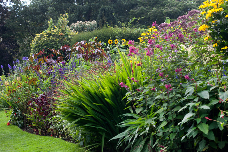 mixed late summer border at Dorothy Clive Garden, Shropshire